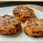 salmon and sweet potato home-made fish cakes