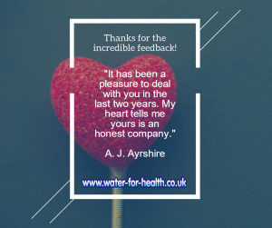 incredible feedback number 1 water for health.co.uk
